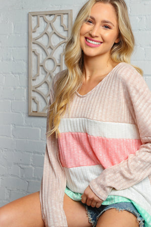 Beige Pink V Neck Hacci Color Block Ribbed Top