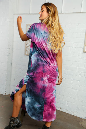 Tie Dye Maxi Dress with Slits and Pockets
