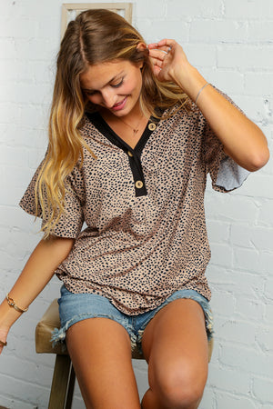 Animal Print Flutter Sleeve Button Down V Neck Top