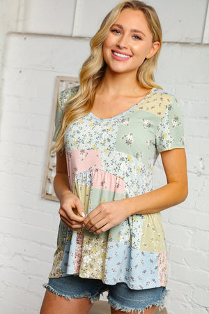 Floral Print Patchwork Baby Doll Knit Top