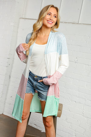 Sky Blue and Blush Ribbed Color Block Cardigan