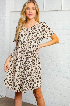 Animal Print Short Sleeve Round Neck Dress