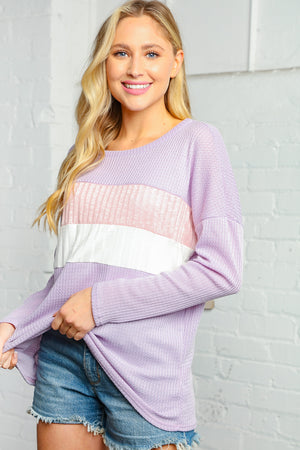 Lilac and Ivory Waffle Print Color Block Rib Top