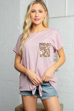 Pink and Ivory Animal Print Front Pocket Knotted Top