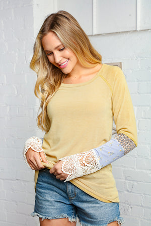 Banana Colored Leopard Floral Print Lace Sleeve Top