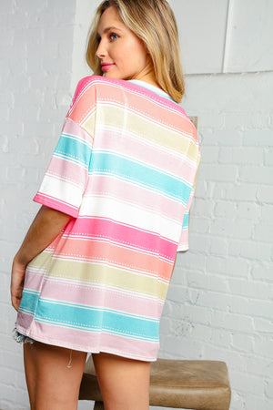 Multi Rainbow Stripe Thermal Knit Top