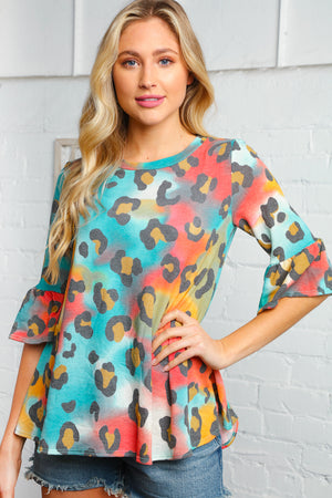 Animal Tie Dye Bell Sleeve Blouse