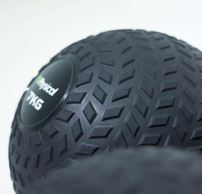 Closeup of tyre effect on slam ball.
