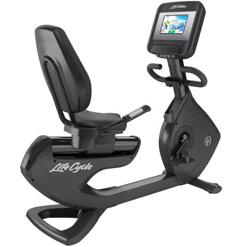 Elevation Series Lifecycle® Recumbent Exercise Bike with Discover SI Tablet Console in Black Onyx.