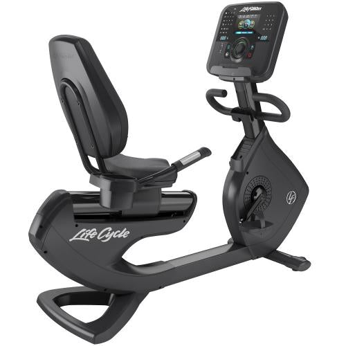 Elevation Series Lifecycle® Recumbent Exercise Bike with Explore Console with QuickNav Dial in Black Onyx.