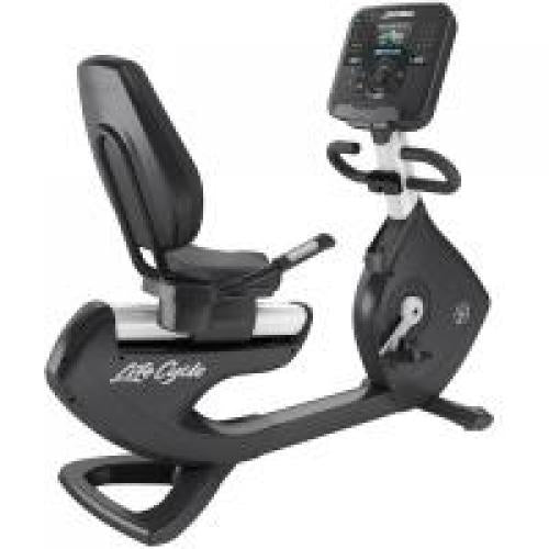 Elevation Series Lifecycle® Recumbent Exercise Bike with Explore Console with QuickNav Dial in Diamond White.