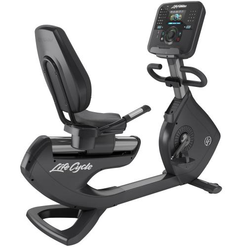 Elevation Series Lifecycle® Recumbent Exercise Bike with Explore Console with QuickNav Dial in Titanium Storm.