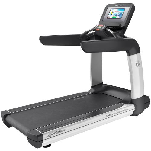 Elevation Series Treadmill with Discover SI Tablet Console in Diamond White.