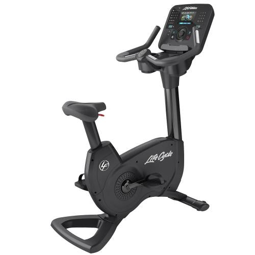 Elevation Series Lifecycle® Upright Exercise Bike with Explore Console with QuickNav Dial in Black Onyx.