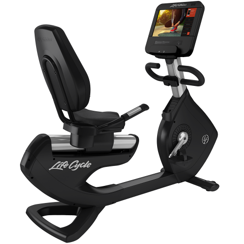 Elevation Series Lifecycle® Recumbent Exercise Bike with Discover SE3 HD Tablet Console in Artic Silver.