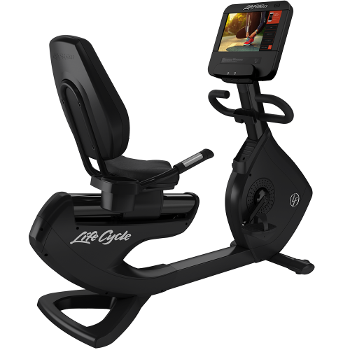 Elevation Series Lifecycle® Recumbent Exercise Bike with Discover SE3 HD Tablet Console in Black Onyx.