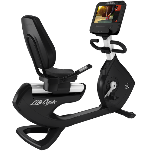 Elevation Series Lifecycle® Recumbent Exercise Bike with Discover SE3 HD Tablet Console in Diamond White.