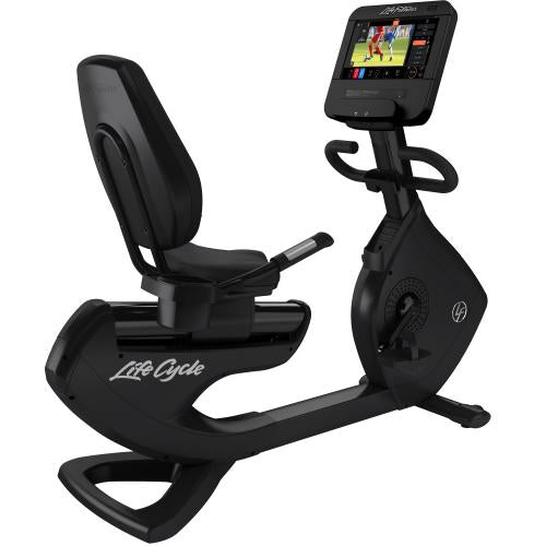 Elevation Series Lifecycle® Recumbent Exercise Bike with Discover ST Console in Black Onyx.