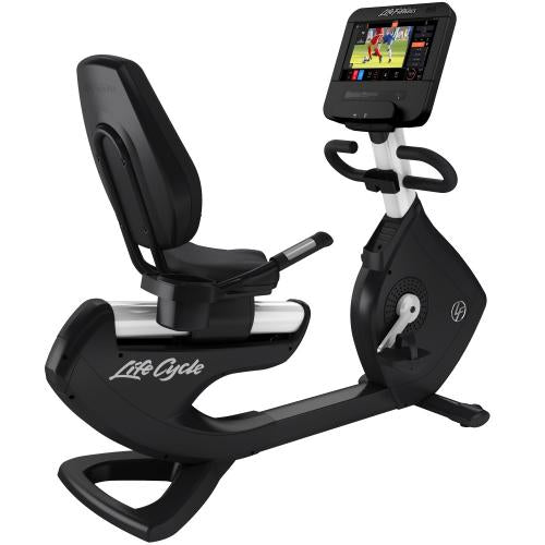 Elevation Series Lifecycle® Recumbent Exercise Bike with Discover ST Console in Diamond White.