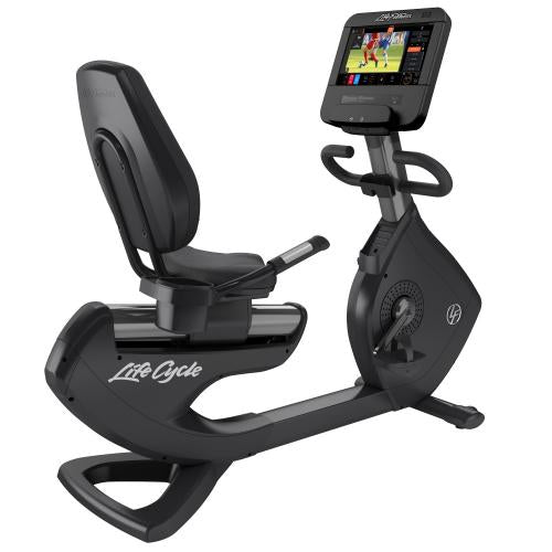 Elevation Series Lifecycle® Recumbent Exercise Bike with Discover ST Console in Titanium Storm.