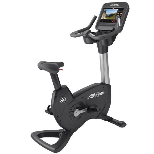Elevation Series Lifecycle® Upright Exercise Bike with Discover SE3 Tablet Console in Artic Silver.