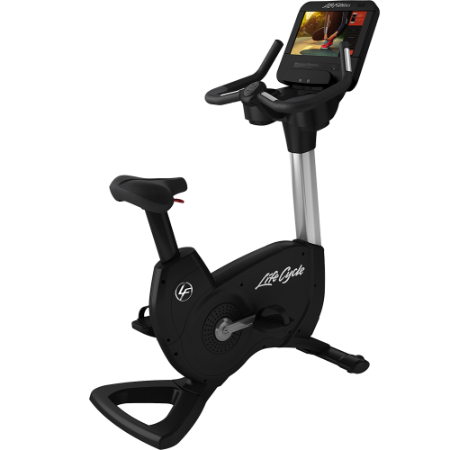 Elevation Series Lifecycle® Upright Exercise Bike with Discover SE3 HD Tablet Console in Artic Silver.