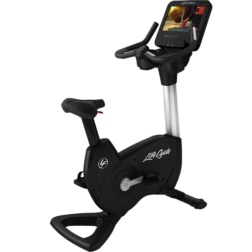 Elevation Series Lifecycle® Upright Exercise Bike with Discover SE3 HD Tablet Console in Diamond White.