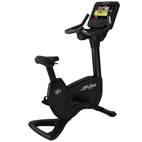 Elevation Series Lifecycle® Upright Exercise Bike with Discover ST Console in Black Onyx.