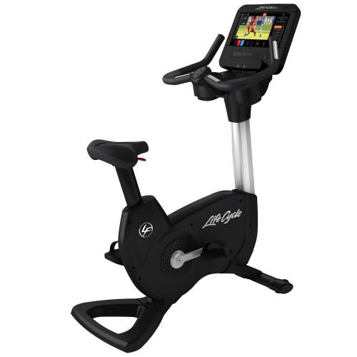 Elevation Series Lifecycle® Upright Exercise Bike with Discover ST Console in Diamond White.
