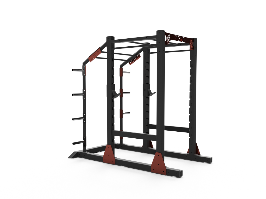 Polished black and red stealth rack.