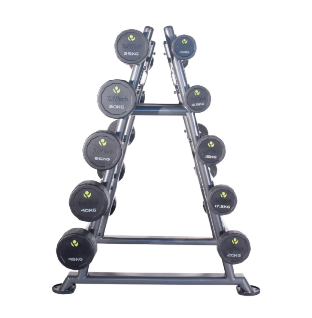 Sideview of 10-45kg poly-urethane barbells with pyramid rack holding them.