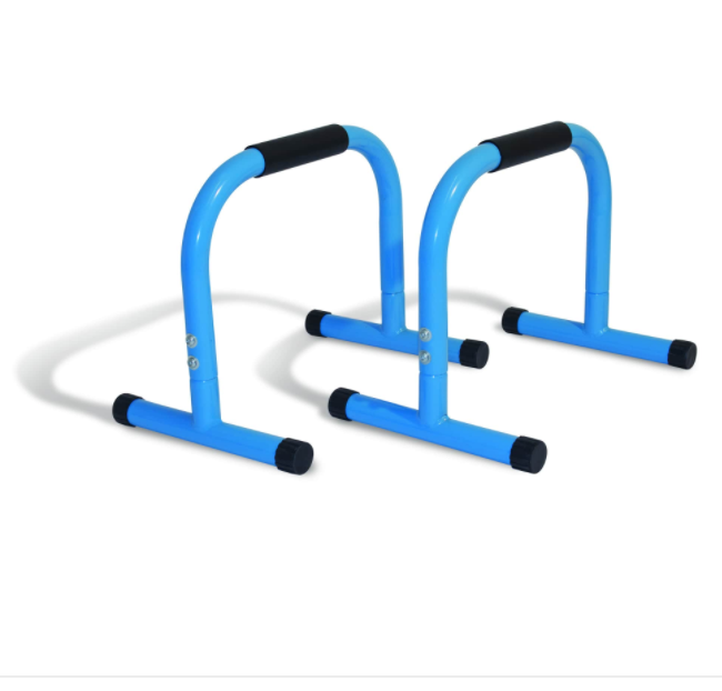 White, black and blue coloured parallettes.