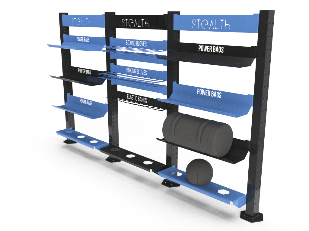 Blue and black stealth rack with multiple shelves.