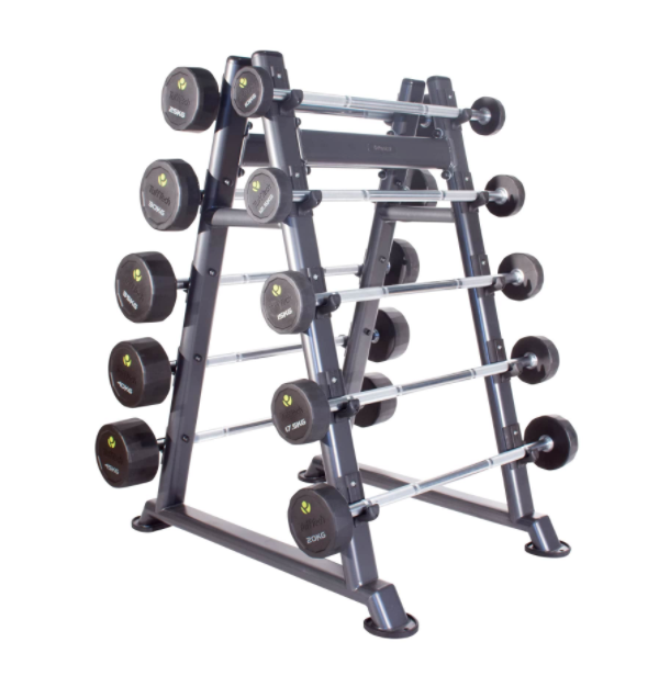 10-45kg poly-urethane barbells with pyramid rack holding them.