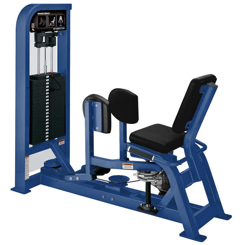 Hammer Strength Select Hip Abduction in all blue.
