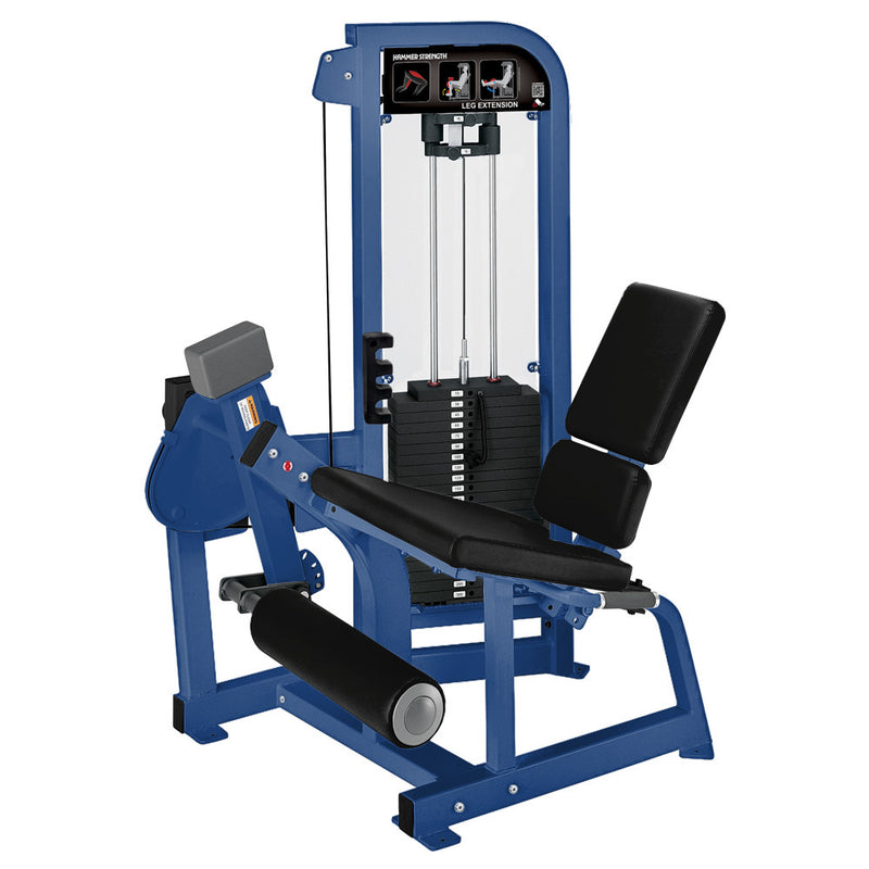 Hammer Strength Select Leg Extension in blue with black leather.