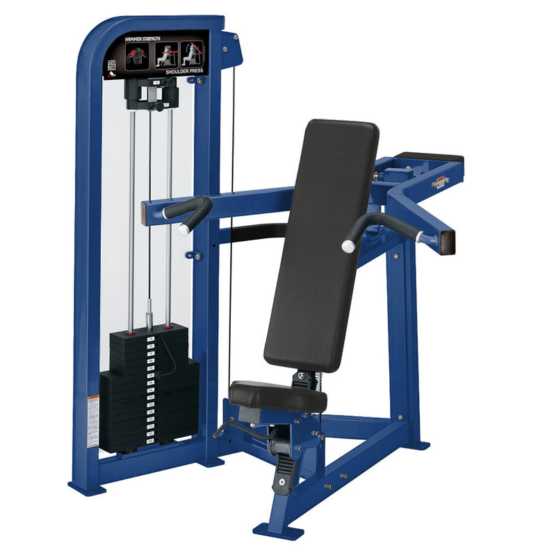 Hammer Strength Select Shoulder Press in all blue.