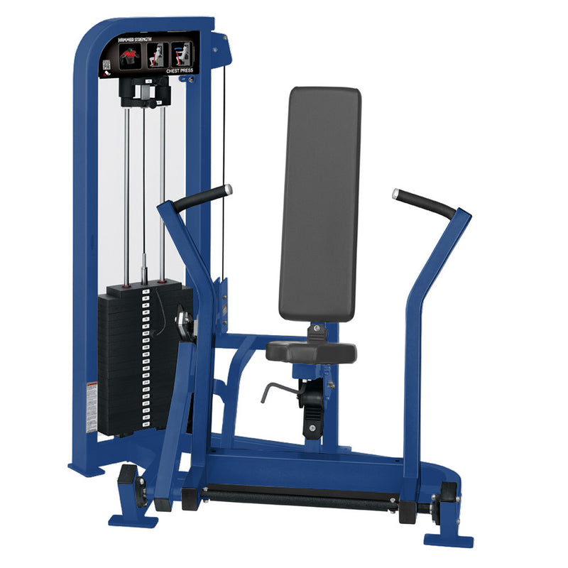 Hammer Strength Select Chest Press in all blue.