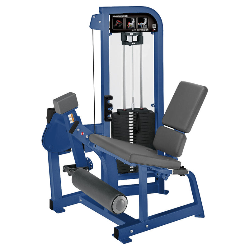 Hammer Strength Select Leg Extension in blue with slate leather.