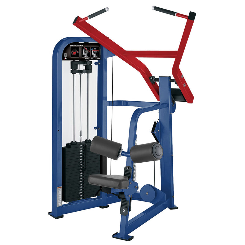 Hammer Strength Select Fixed Pulldown in blue and red.