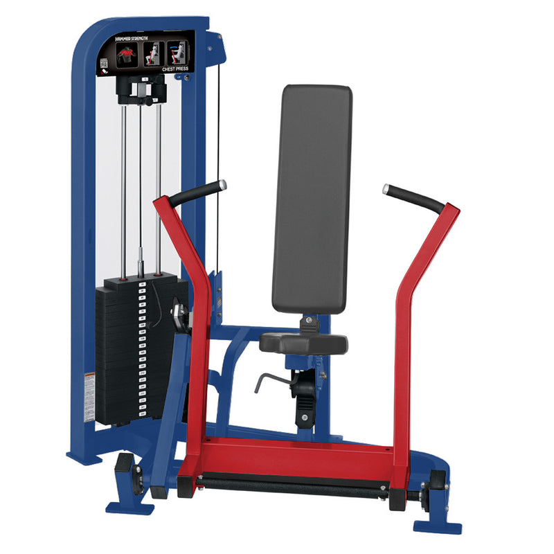 Hammer Strength Select Chest Press in blue and red.