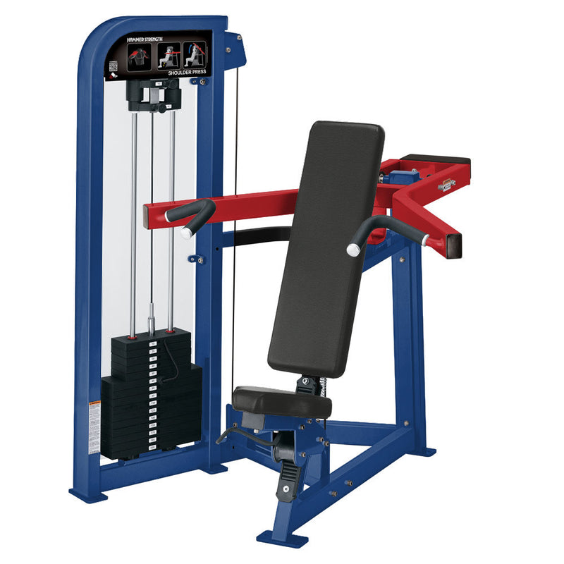 Hammer Strength Select Shoulder Press in blue and red.