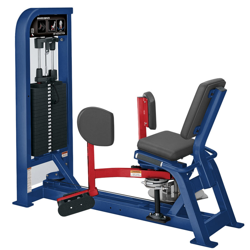 Hammer Strength Select Hip Adduction in blue and red.