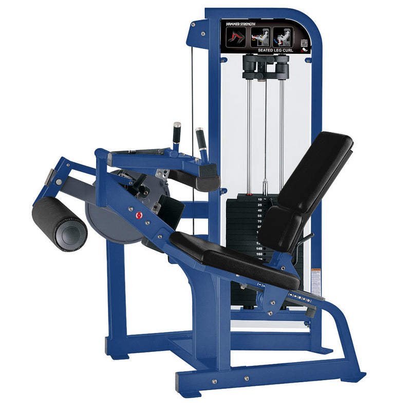 Hammer Strength Select Seated Leg Curl in blue with black leather.