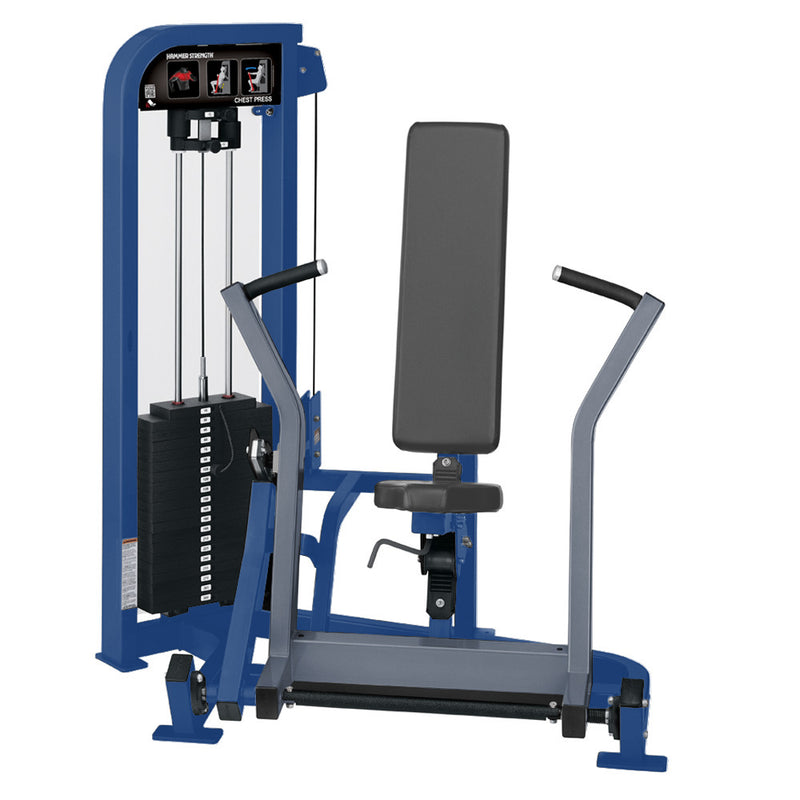 Hammer Strength Select Chest Press in blue and ice blue metallic.