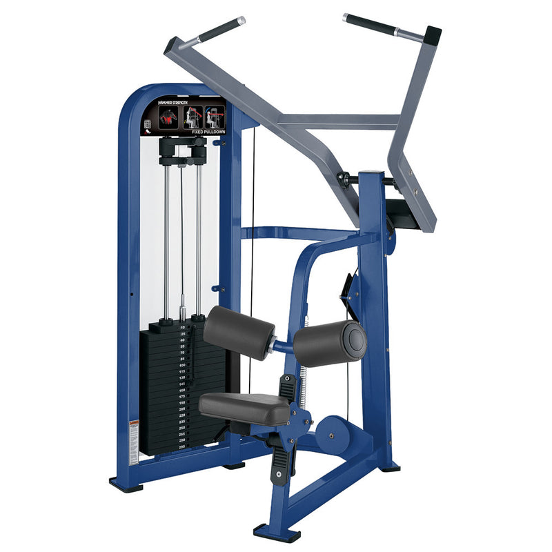 Hammer Strength Select Fixed Pulldown in blue and ice blue metallic.