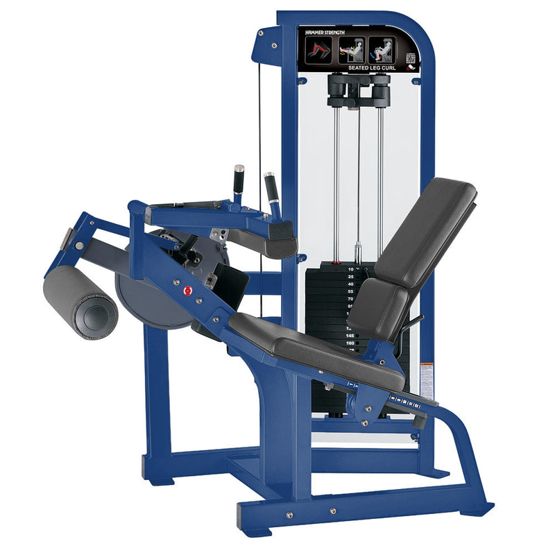 Hammer Strength Select Seated Leg Curl in blue with slate leather.