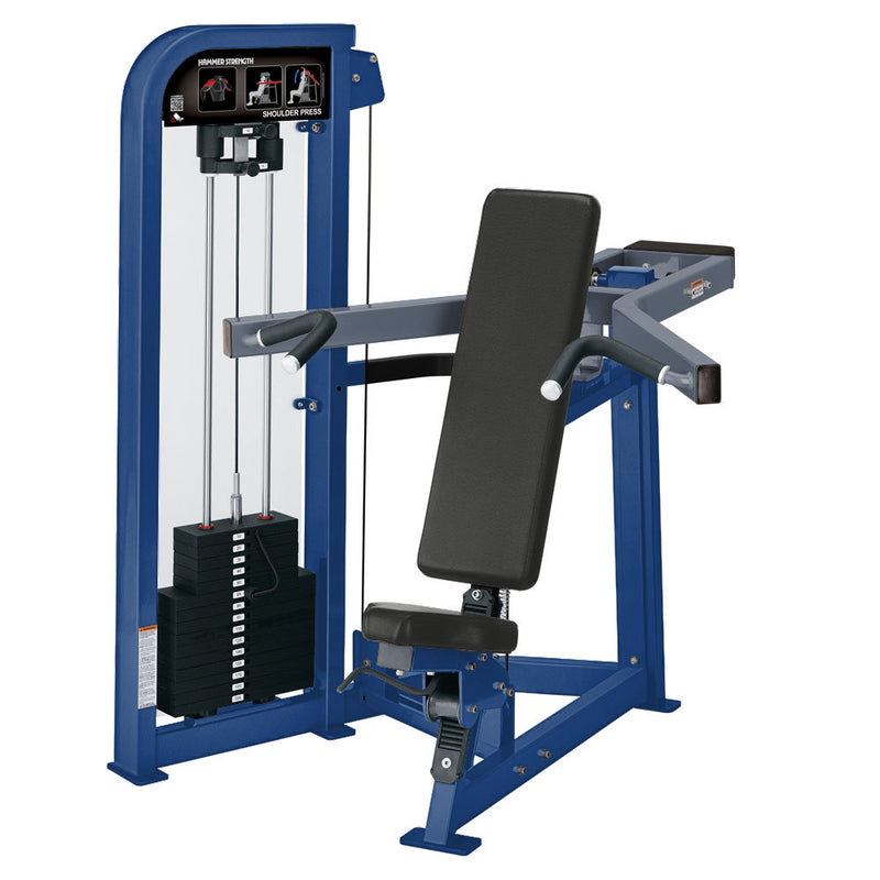 Hammer Strength Select Shoulder Press in blue and ice blue metallic.