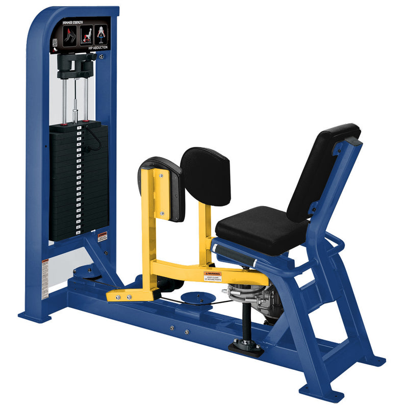Hammer Strength Select Hip Abduction in blue and yellow.