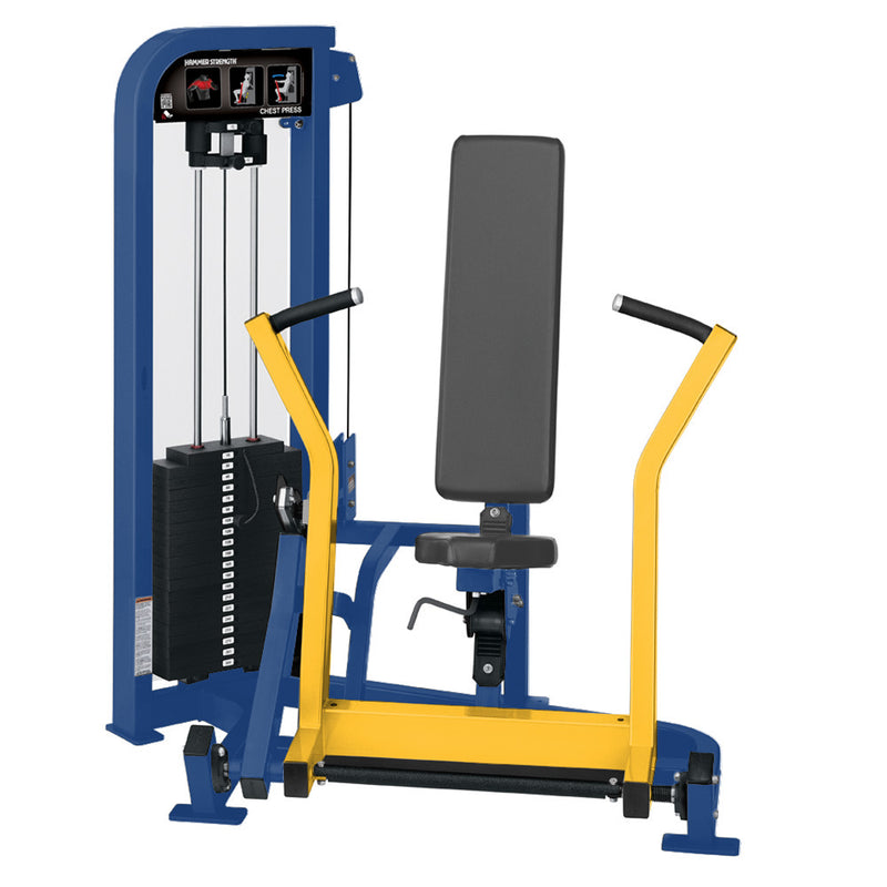 Hammer Strength Select Chest Press in blue and yellow.